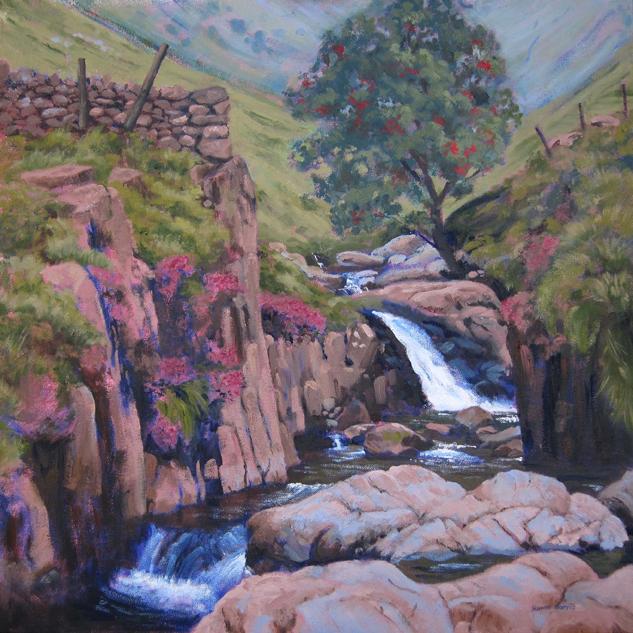 Grains Gill, Borrowdale, oil on canvas, 60x60cm